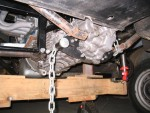 Twin link suspension, trans mount kit, section cut out of hoop