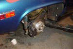 Detail of 10 1/2 vented Wilwood conversion. trailing arm was relieved to accomodate 15 inch tires