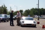 Two guys discussing Europa height at Minnesota Austin-Healey Club Gymkhana 8-14-04